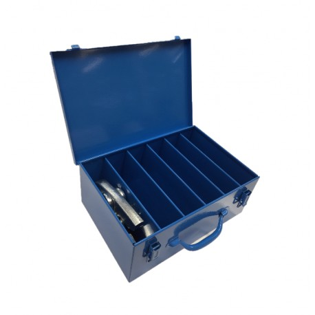 Koffer blauw t.b.v. 6 persbekken